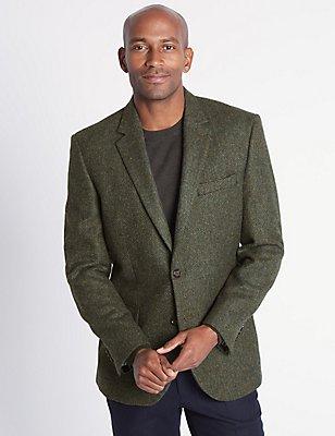 Pure Wool Textured Jacket, DARK GREEN, catlanding