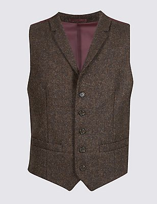 Pure Cotton Barleycorn Waistcoat, BROWN, catlanding