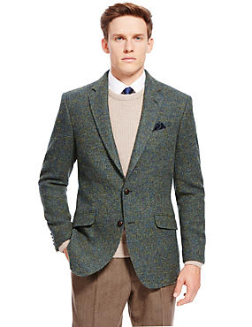 Pure Wool Tailored Fit 2 Button Harris Tweed Jacket with Buttonsafe™, GREEN, catlanding