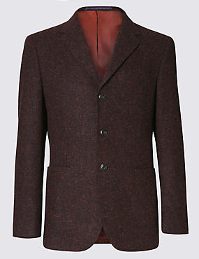 Pure Wool Tailored Fit Harris Tweed 3 Button Jacket with Buttonsafe™