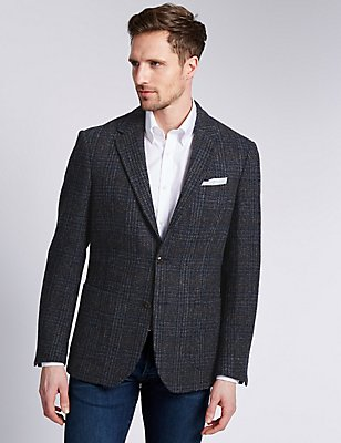Pure Wool Tailored Fit Harris Tweed Jacket, GREY MIX, catlanding