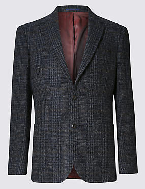 Pure Wool Tailored Fit Harris Tweed Check 2 Button Jacket with Buttonsafe™