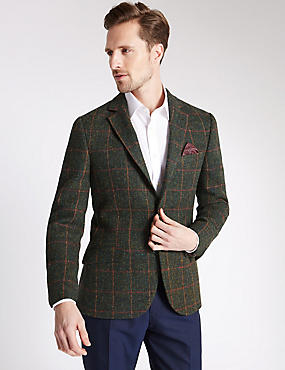 Pure Wool Tailored Fit Harris Tweed Jacket, GREEN, catlanding
