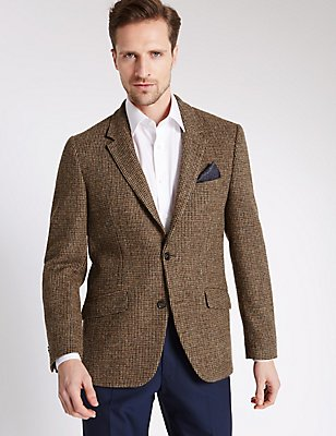 Pure Wool Regular Fit Harris Tweed Jacket, BROWN MIX, catlanding