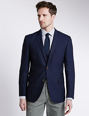 Pure New Wool Tailored Fit 2 Button Blazer, NAVY, catlanding