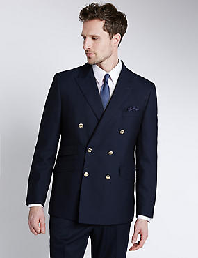 Pure New Wool Double Breasted Blazer, NAVY, catlanding