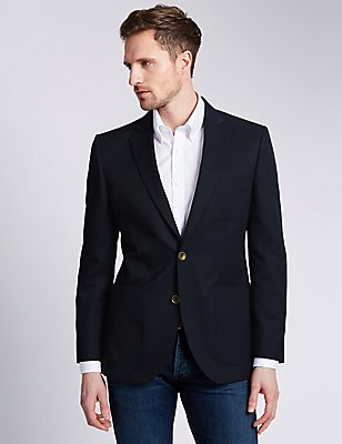 Notch Lapel 2 Button Blazer, NAVY, catlanding