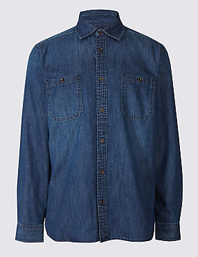 Pure Cotton Shirt with Pocket, LIGHT DENIM, catlanding