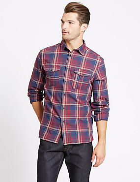 Pure Cotton Checked Shirt with Pocket, AUBERGINE MIX, catlanding