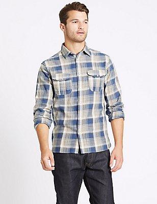 Hemd aus reiner Baumwolle mit Karomuster und Tasche, INDIGO MELANGE, catlanding