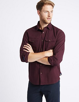 Pure Cotton Shirt with Pockets, AUBERGINE, catlanding
