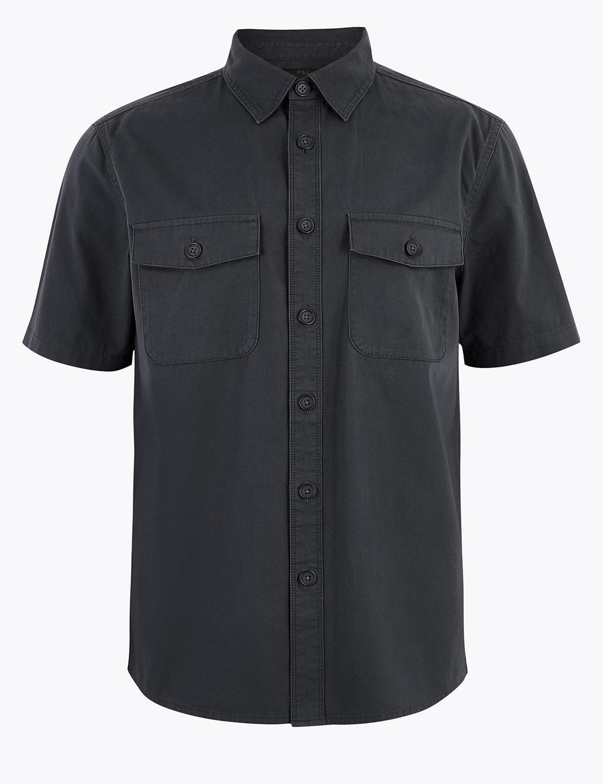 Мужская хлопковая рубашка с карманами