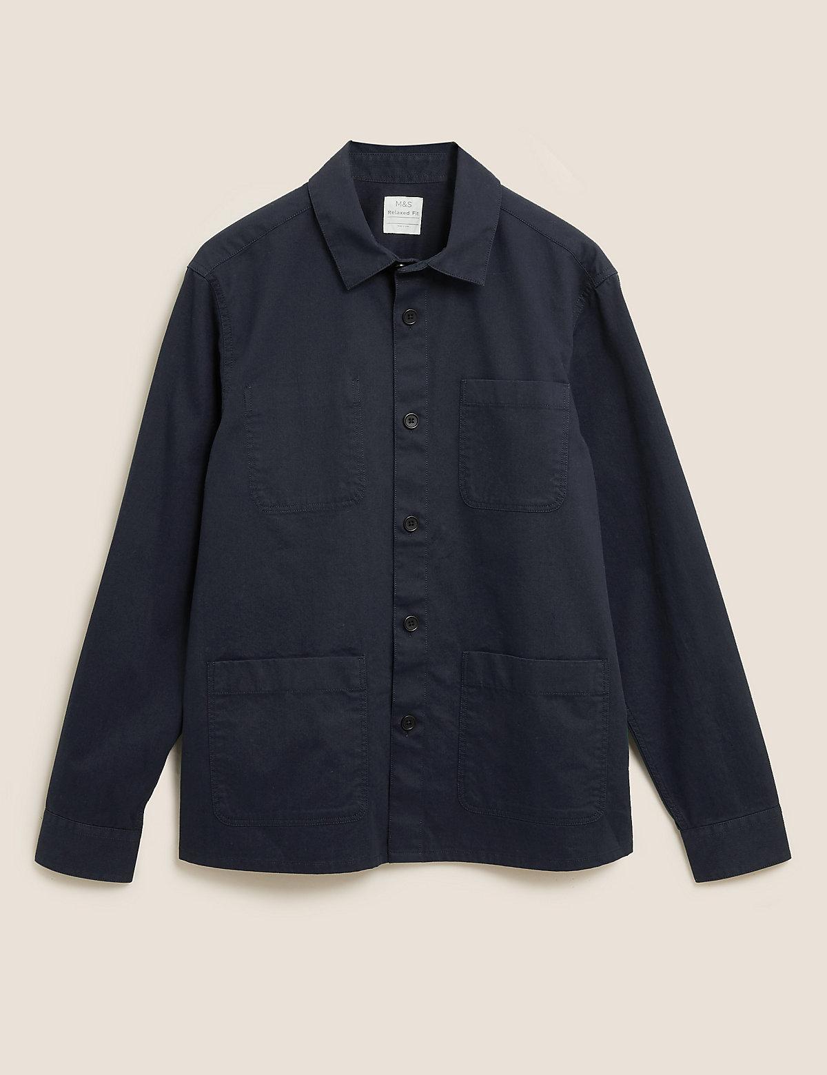 Свободная верхняя рубашка из чистого хлопка