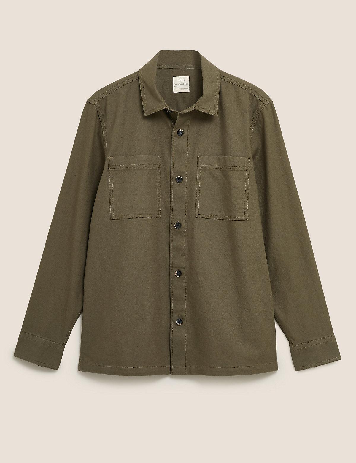 Практичная верхняя рубашка из чистого хлопкового твила