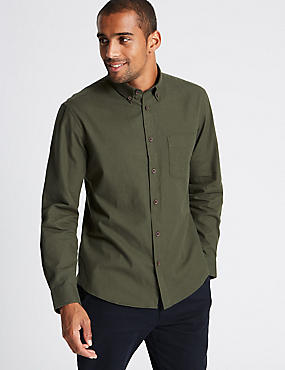 Brushed Cotton Plain Shirt , KHAKI, catlanding