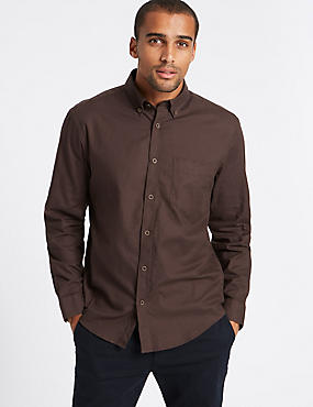 Brushed Cotton Plain Shirt , BROWN, catlanding
