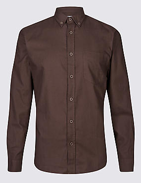 Pure Cotton Shirt with Pocket, BROWN, catlanding