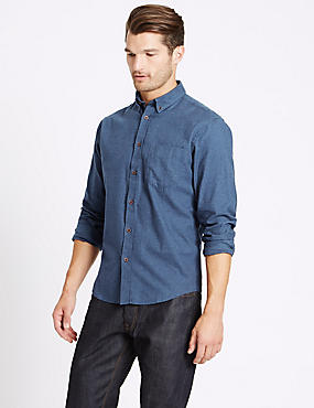 Brushed Cotton Plain Shirt , NIGHTSHADE, catlanding