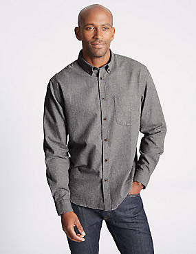 Brushed Cotton Plain Shirt , GREY, catlanding