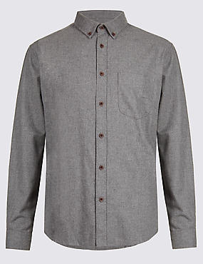 Pure Cotton Shirt with Pocket, GREY, catlanding