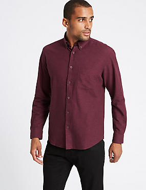 Brushed Cotton Plain Shirt , OXBLOOD, catlanding