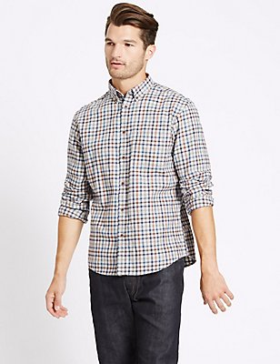 Pure Cotton Checked Shirt with Pocket, BROWN MIX, catlanding