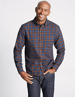 Brushed  Cotton Checked Shirt, AMBER, catlanding