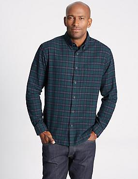 Brushed  Cotton Checked Shirt, DARK EVERGREEN, catlanding