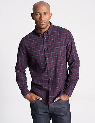 Brushed  Cotton Checked Shirt, DARK AUBERGINE, catlanding