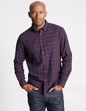 Brushed  Cotton Checked Shirt, DARK AUBERGINE, catlanding