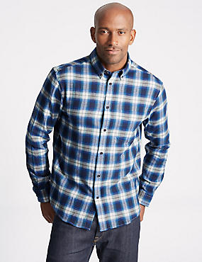 Brushed  Cotton Checked Shirt, DARK TEAL, catlanding