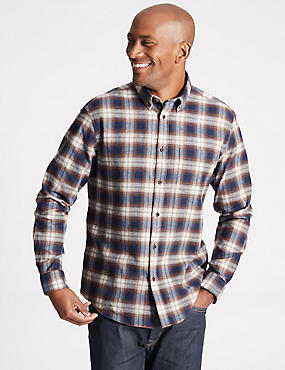 Brushed  Cotton Checked Shirt, AMBER MIX, catlanding