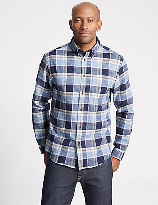 Pure Cotton Checked Shirt, BLUE MIX, catlanding