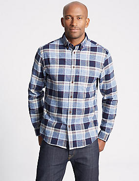 Brushed  Cotton Checked Shirt, BLUE MIX, catlanding