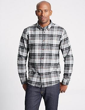 Brushed  Cotton Checked Shirt, GREY MIX, catlanding