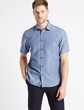 Modal Rich Striped Shirt with Pocket, ICE BLUE, catlanding