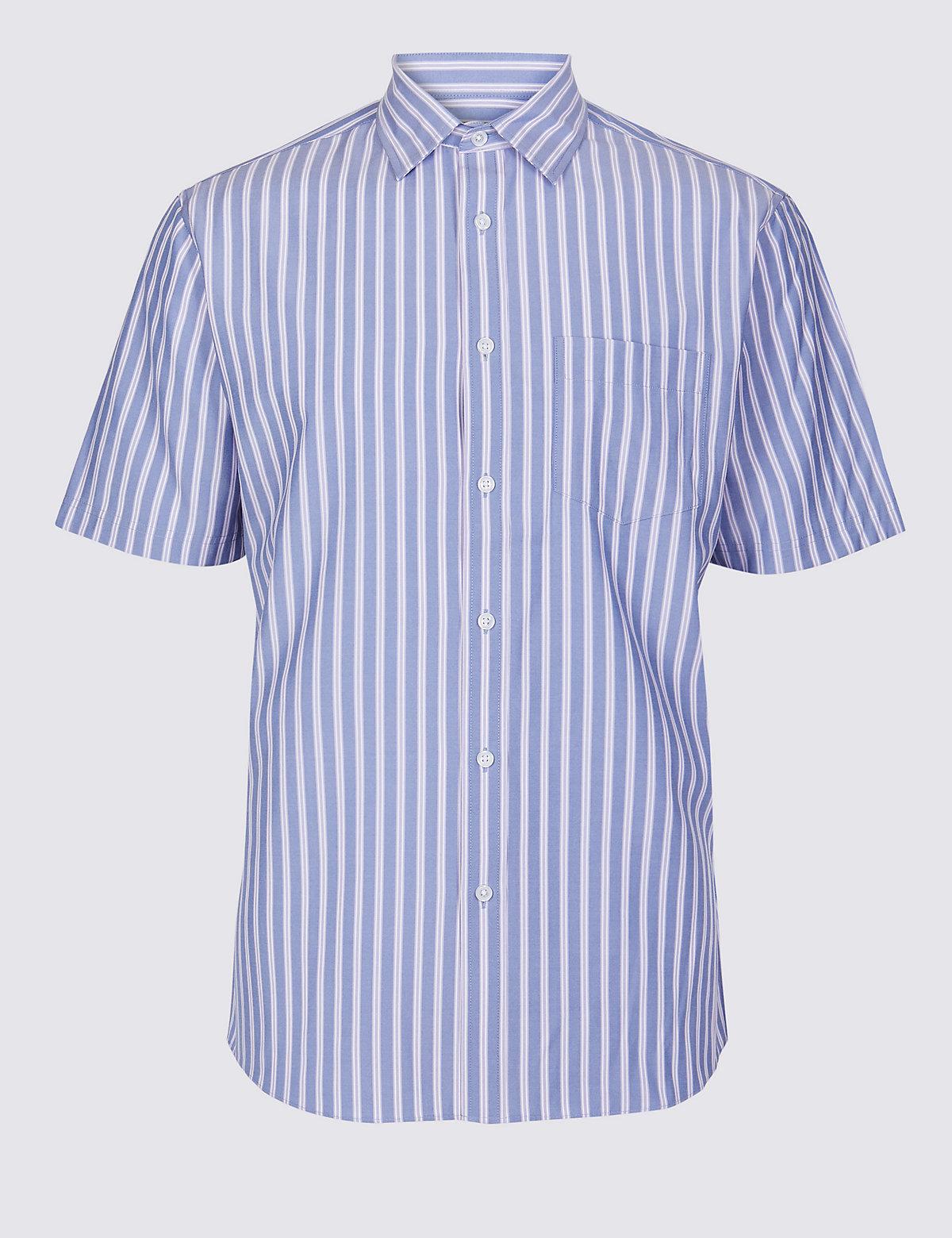 Мужская рубашка в полоску с добавлением модала