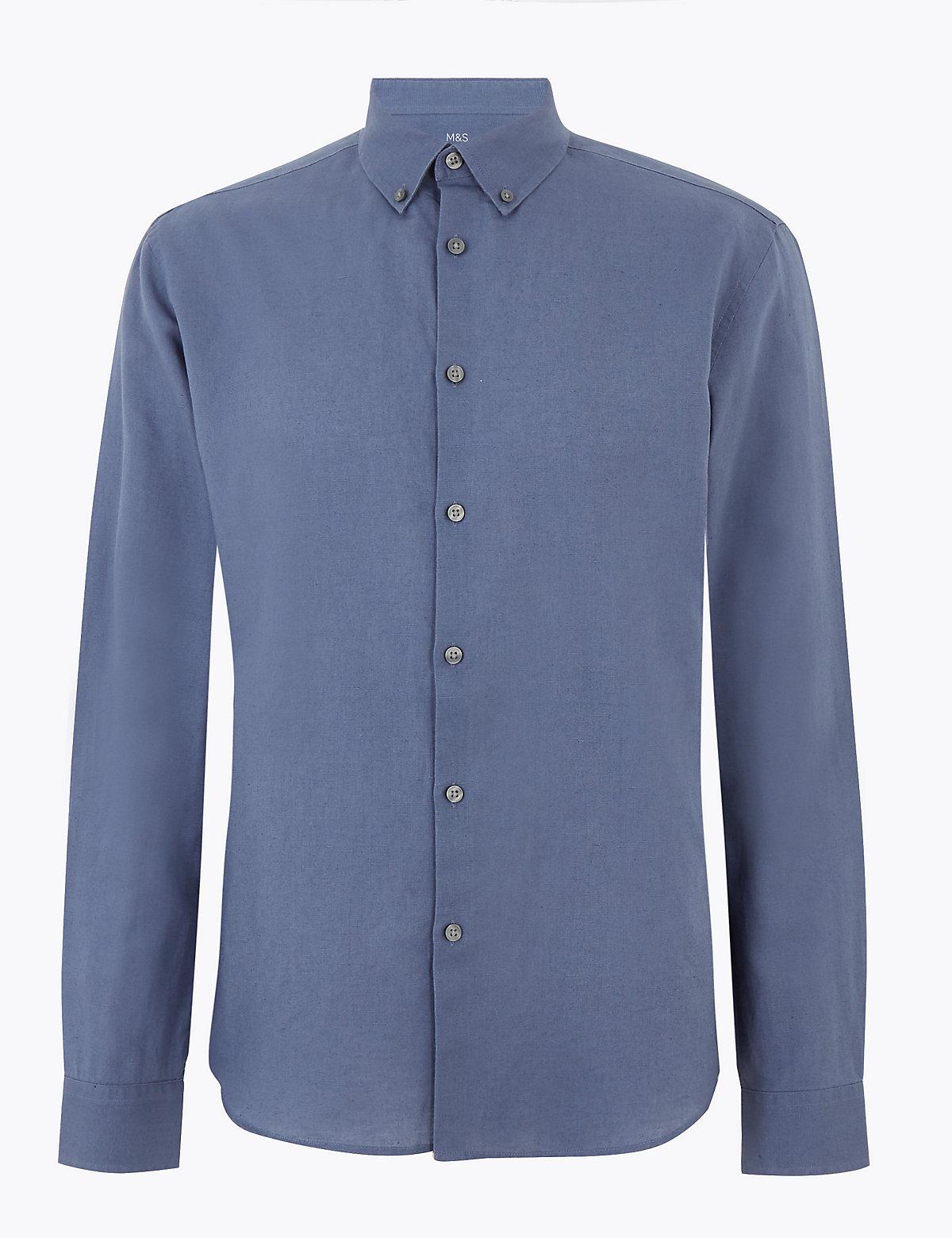Мужская льняная рубашка с отделкой Easy Iron
