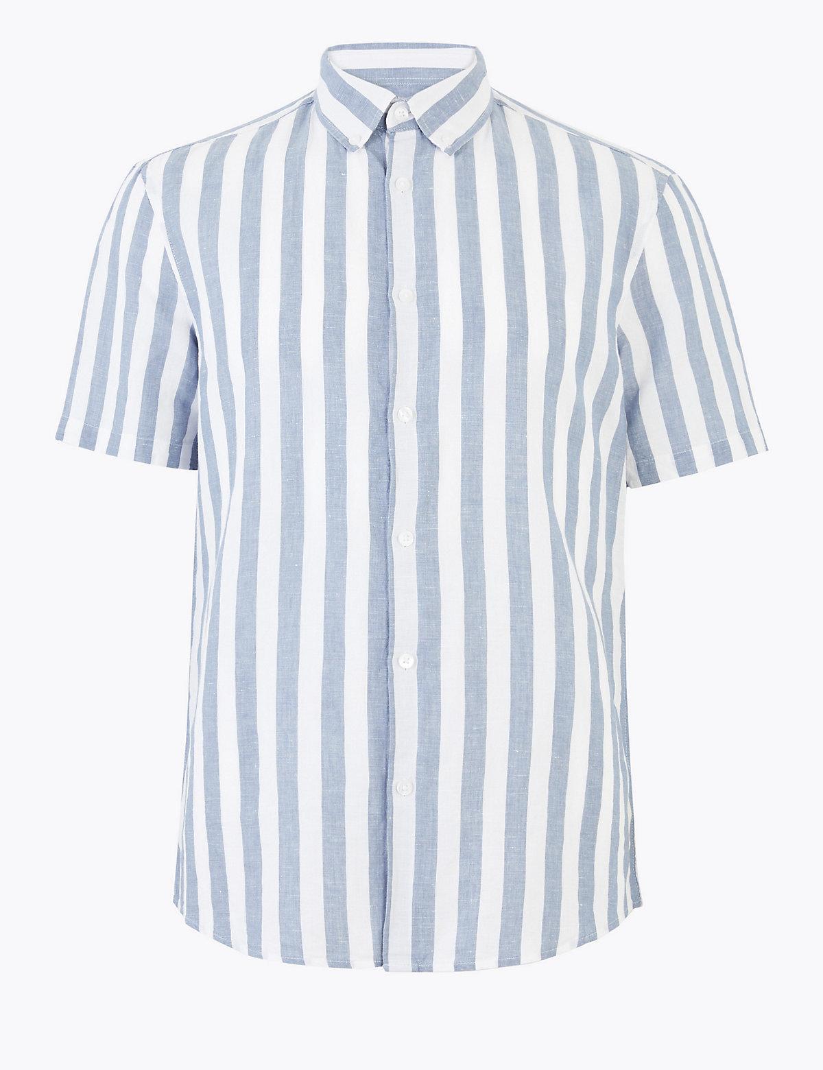 Льняная полосатая рубашка Easy Iron