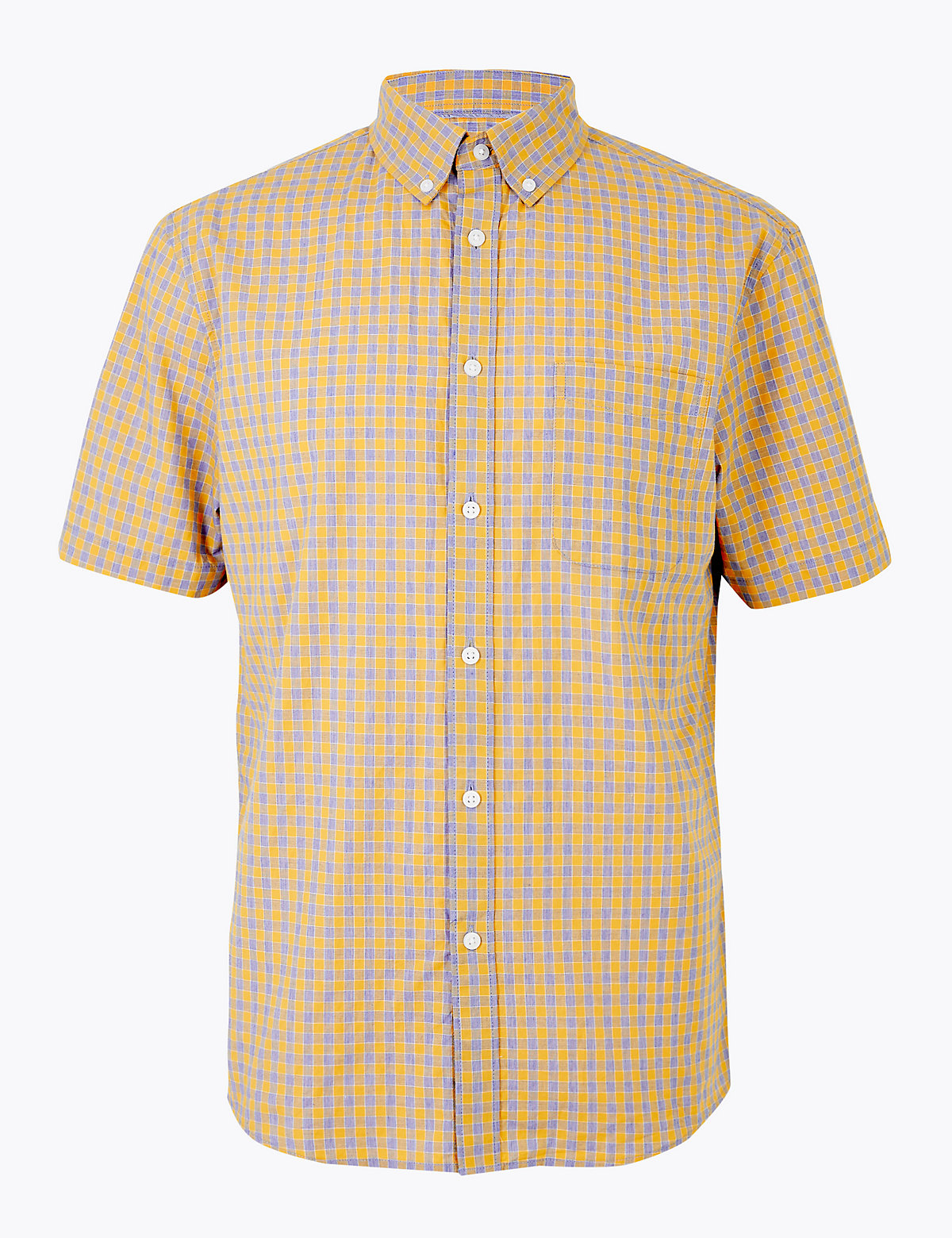 Рубашка с коротким рукавом в клетку из чистого хлопка