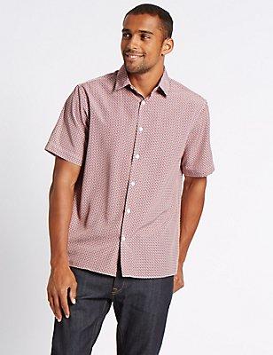 Easy Care Modal  Printed Shirt, RASPBERRY, catlanding