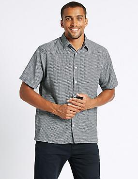 Easy Care Modal  Printed Shirt, NAVY, catlanding