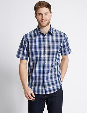 Modal Blend Easy Care Checked Shirt, NAVY, catlanding