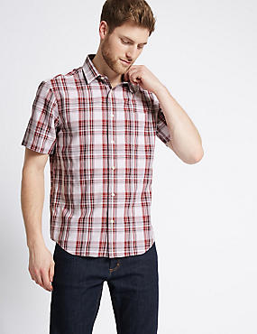 Easy Care Checked Shirt with Pocket , BURGUNDY, catlanding