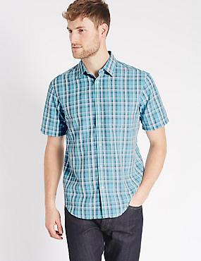 Model Blend Easy Care Shirt with Pocket, DARK TEAL, catlanding