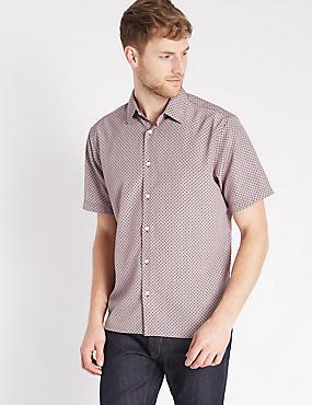 Easy Care Geometric Print Shirt, BURGUNDY, catlanding