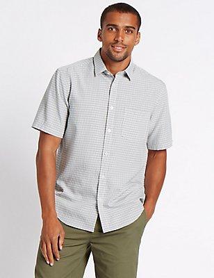 Easy Care Modal Rich Check Shirt, GREY MIX, catlanding