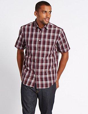 Modal Blend Easy Care Shirt with Pocket, AUBERGINE, catlanding