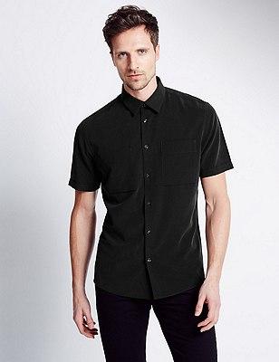 Modal Rich Easy Care Soft Touch Shirt, BLACK MIX, catlanding