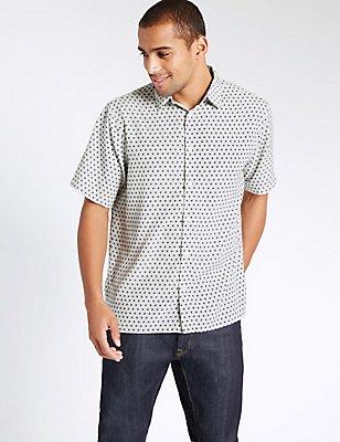 Easy Care Geometric Print Shirt, POPPY, catlanding